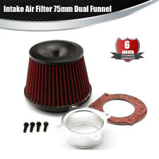 Universal Power Intake Air Filter 75mm Dual Funnel Adapter Accessories sport CAR