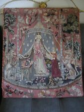 Antique French Needlepoint Petit Point Tapestry Lady & Unicorn A Mon Seul Desir