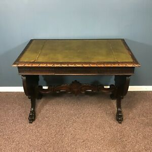 19th Century Carved Gothic Revival Library Desk Table