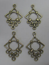 4 Filigree Metal Finding Earrings For Beading & Jewellery Making Boho Gold Tone