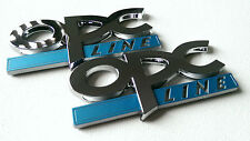 2 X OPC LINE BADGE FOR VAUXHALL OPEL CORSA ASTRA VEXTRA SRI VXR BLUE & CHROME