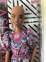 NRFB 2020 Barbie Mattel Fashionistas150 Bald Pizzazz Floral Dress Rare Earrings