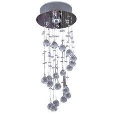 Modern Crystal Ceiling Light Chandelier Lamp Rain Drop Room Decor Spiral Silver