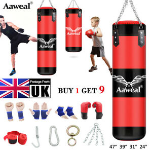 2/3/4ft Boxing bag Set UnFilled Heavy Punching Bag,Gloves,Chain,Kick Aaweal UK
