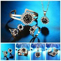 Armband Ring Brautschmuck Hochzeit Gold Schmuck Set Strass Ohrringe Halsket W1V7