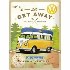 VW Camper Lets Get Away large embossed metal wall sign 400mm x 300mm (na)