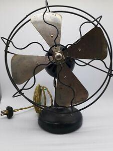 "Kendrick & Davis Carleton Antique Electric Fan 8"" Nickel Blade Roundball Motor"
