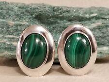 Earrings (E202T) Navajo: Malachite Oval Clip-on