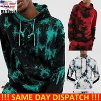 Mens Long Sleeve Tie Dye Hooded Sweatshirt Hoodie Gym Sports Pullover Jumper Top