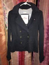 Vintage Hollister Womens Navy Blue Button Peacoat Jacket Sz Medium Coat Hooded