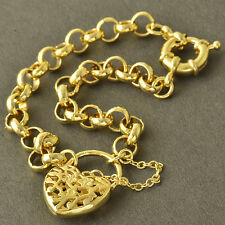Arab Fashion 9K Yellow Gold Filled WOMENS Openwork Heart Chain Bracelet 8.7 INCH