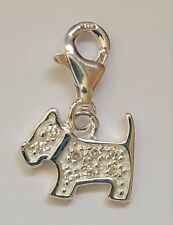 Genuine 925 Sterling Silver Cubic Zirconia Set Scottie Dog Charm & Parrot Clasp