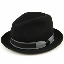 Wool Trilby Hat Hawkins Vintage Gangster Fedora Felt BLACK NAVY BROWN Cap