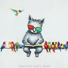 Birds on Wire With Cat Stretched Canvas Colourful Print Picture Wall Art 80 Cm
