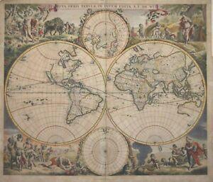 WORLD - NOVA ORBIS TABVLA IN LVCEM EDITA. BY FREDERICK DE WIT, CIRCA 1670.