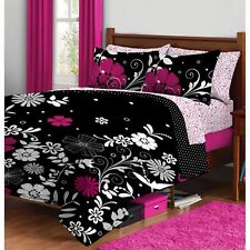 Queen Size Bedding Set  Black / Pink Floral Reversible Bed In a Bag Microfiber