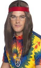 da uomo Hippy Set costumi Parrucca FASCIA occhiali PACE collana anni '60