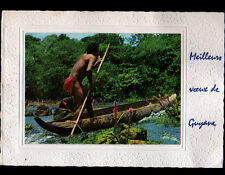 HAUT-ITANY (GUYANE Française) INDIEN WAYANA en pirogue / MEILLEURS VOEUX