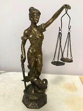 Blind Justice Law Lady Scale Bronze Sculpture Figurine Statue.