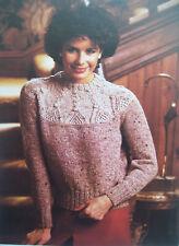 Ladies CABLE YOLK JUMPER sweater KNITTING PATTERN Tweed DK 34 - 40 inch