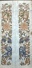 Antique Chinese Embroidery Textile Panels BATS Cranes  PEACHES Seed Stitch OLD