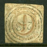 Germany 1863 Thurn & Taxis South 9kr Bistre SG #72 VFU J866 ⭐⭐⭐⭐⭐