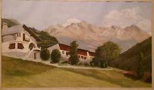 Tableau peinture Vue de SEEZ Savoie Signé Charzat 1949