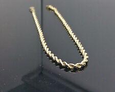 10K Oro Giallo Corda Cavigliera 22.9cm lungo 2.5mm, Catenina, Bracciale, 10kt