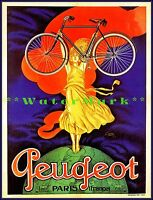 Cycles Peugeot Paris France French Woman Holding Bicycle Vintage Poster Print