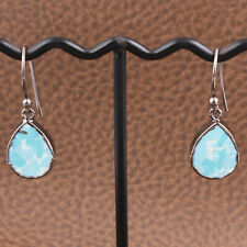 Pear Shape Sky Blye Turquoise Black Rhodium Plated Party Wear Drop Earrings