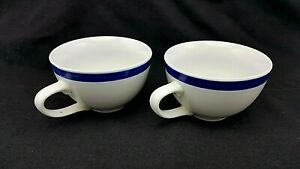 Coffee Tea Cup Mug Everyday Gibson Set 2 Cobalt Blue Stripe Glazed - No Saucers