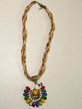 NEW WOMEN'S MULTI-COLOR PEACOCK PENDANT TWISTED BEADED NECKLACE