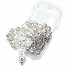 Bridal Silver Pearl Rosary - 14mm Pearl beads Rosary with Silver chain, Cross &