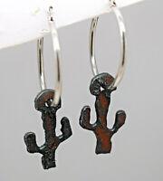 Rustic Cactus on .925 Sterling Silver Hoop Earrings  Drop Dangle