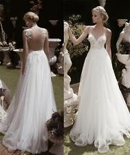 A Line Backless White Ivory Lace Tulle Bridal Gown Wedding Dress Custom 2 4 6 8+
