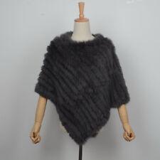 2018 Real Rabbit Fur Cape Knitted Poncho Women Autumn Winter Warm Shawl 11071