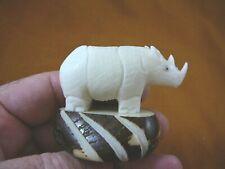 (Tne-Rhi-174B) Rhino Rhinoceros Tagua Nut Figurine carving Vegetable love rhinos