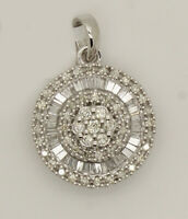 0.57Ct Round & Baguette Real Diamond Cluster Pendant In 14K Solid White Gold