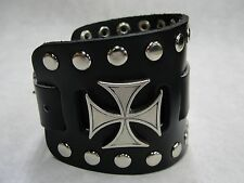 Wide Black Leather Watch Band With Iron Maltese Cross Made in USA Buckle Closure
