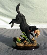 """Vintage Hunting Dog Statue Retriever With Duck Figurine Wood Base NEW 10"""""""