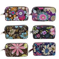 JN_ Women Floral Print Cloth Wristlet Bag Coin Purse Wallet Cell Phone Pouch C