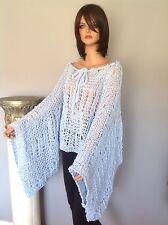 Shrug Poncho Shawl Caplet Halter Cowl ahand Knit Blue Silver Designer Fashion