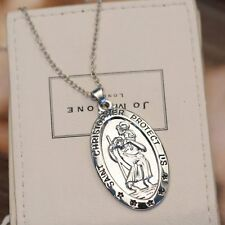 St CHRISTOPHER Necklace Silver Charm Pendant and Chain TRAVEL Saint Jewelry Gift