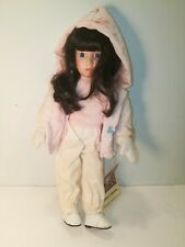 "Porcelain Dynasty Doll Collection The Sleigh Ride Pink White 14"" Very Rare"