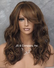 Beachy Body Wavy Brown Blonde Auburn mix Bangs Heat Safe Wig Bangs HUR 4.27.30