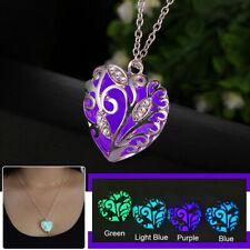 Glowing In Dark Heart Pendant Luminous Necklace Jewelry Halloween Christmas Gift
