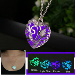 Glowing In Dark Heart Pendant Luminous Necklace Jewelry Halloween Christmas Gift