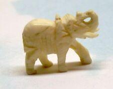 Vtg Carved Bovine Bone Elephant Figurine Charm Pendant
