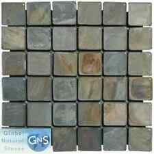 """SLATE MOSAIC 2""""x2"""" FOR FLOOR & WALL - RUSTIC GOLD"""