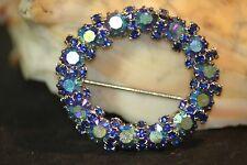 Vintage WEISS Pin Brooch Aurora Borealis Blue Glass Rhinestone Circle Wreath